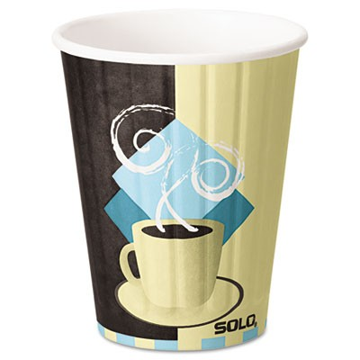 Solo Duo Shield Hot Insulated 12 oz Paper Cups, Beige, 40/Pack