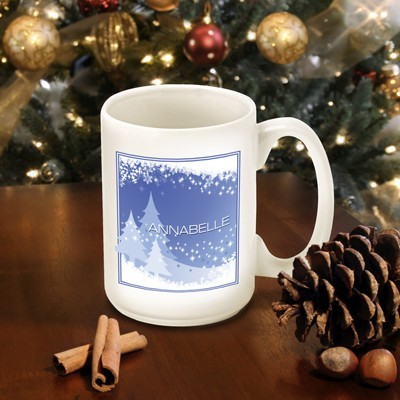 Personalized Holiday Blue Snowscapes Mug