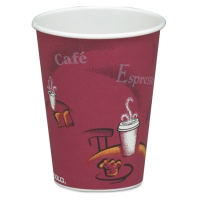 SOLO Bistro Design Hot Drink Cups, Paper, 8 oz., Maroon