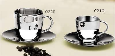 Stainless Steel Cappuccino Cup & Saucer