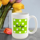 Personalized Polka Dots Coffee Mug (Green Apple)