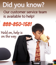 Customer Service - Call us at 888-850-1581.